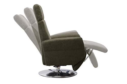 Cavadore TV-Sessel Cobra / Fernsehsessel mit 2 E-Motoren, Akku und Aufstehhilfe / Relaxfunktion, Liegefunktion / Ergonomie L / 71 x 112 x 82 / Lederoptik Olive