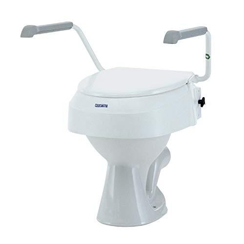 Invacare Aquatec 900 Toilettensitzerhöhung mit Armlehnen, erhöhte Toilettensitze für ältere Menschen, Weiß, erhöht den Sitz um 100 mm