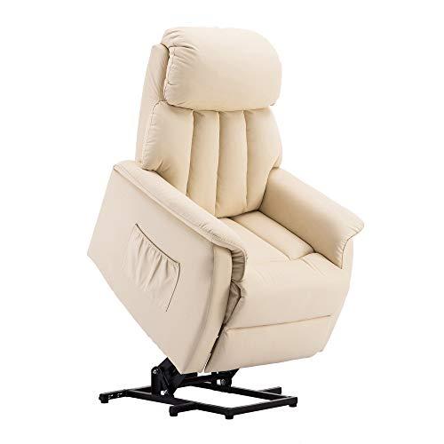 MCombo Elektrisch Aufstehhilfe Fernsehsessel Relaxsessel elektrisch verstellbar 7299 (Creme)*